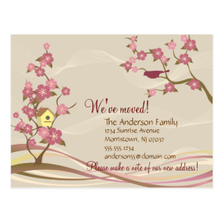 Bird House Moving Announcement Postcard Gray