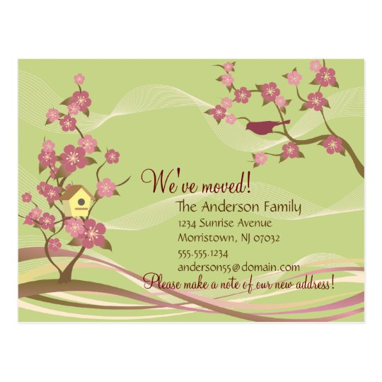 Bird House Moving Announcement Postcard Green