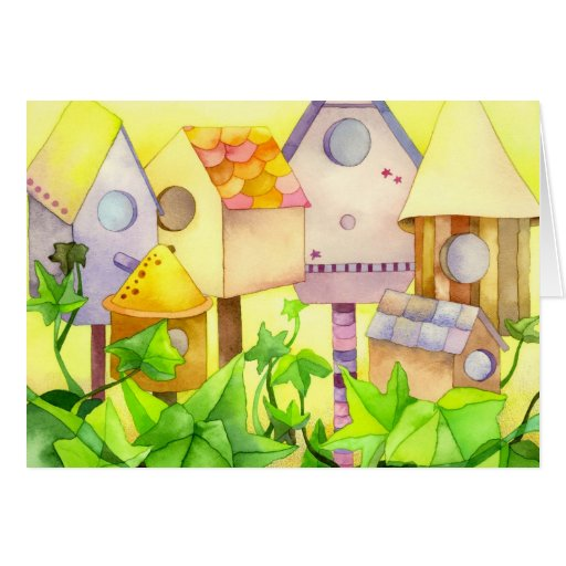 Bird Houses: Congratulations on New Home Card