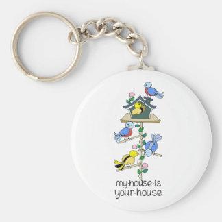 Bird Houses My House is Your House Keychain