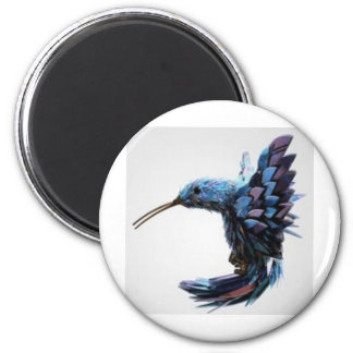 Bird hovering close 2 inch round magnet