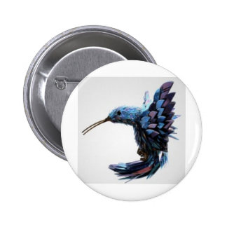 Bird hovering close pinback button
