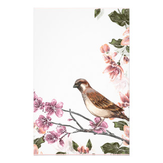 Bird in a Flowering Tree Stationery
