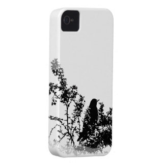 Bird in Bushes Silhouette iPhone 4 Case-Mate Cases