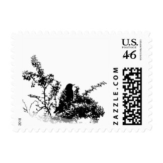 Bird in Bushes Silhouette on White Background Stamp