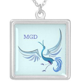 Bird in flight monogram shades of blue jewelry