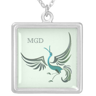 Bird in flight monogram shades of green necklace