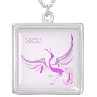 Bird in flight monogram shades of pink custom necklace