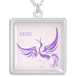 Bird in flight monogram shades of purple custom necklace