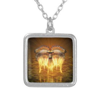 Bird in Flight Square Pendant Necklace