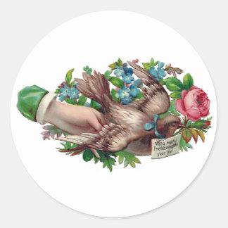 Bird in Hand Victorian Calling Card Classic Round Sticker