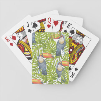 Bird in Jungle Toucan Leaves Pattern Playing Cards