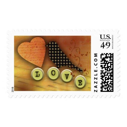 Bird in love stamp
