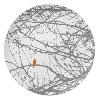 Bird in Maple - orange and grey Party Plates