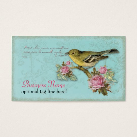 Bird in Pink Roses Business Cards