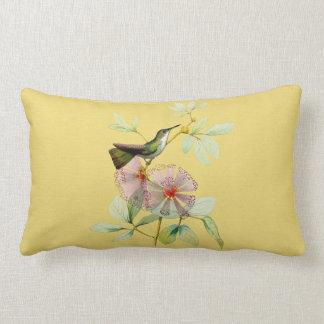 Bird in Powder Puff Tree Botanical Lumbar Pillow
