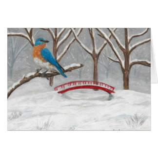 Bird in Snow by Autistic Artist Marcy Deutsch Card