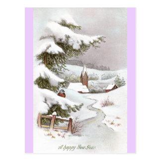 Bird in Snowy Winter Scene for the New Year Postcard