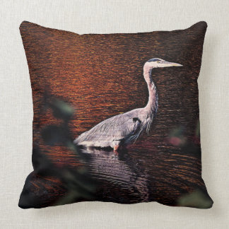 Bird in the lake, on a throw pillow