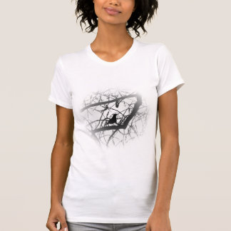 Bird in tree in black and white T-Shirt