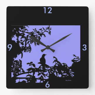 Bird in Tree Silhouette Wall Clock for Home
