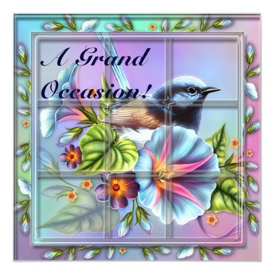 Bird in Window Birthday Invitations Announcements