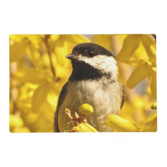 Bird in Yellow Flowers Laminated Place Mat