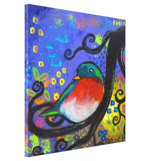 Bird IV~Purple Song Gallery rapped Canvas