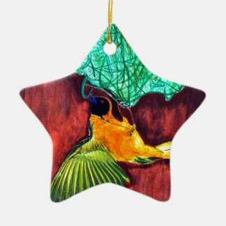Bird Knitting Nest Ceramic Ornament