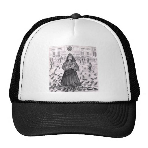 Bird Lady Fun with the Pigeons Mesh Hat