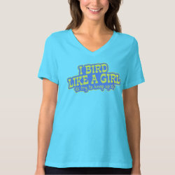 Women's Bella Relaxed Fit Jersey V-Neck T-Shirt with Bird Like A Girl... Keep Up! design