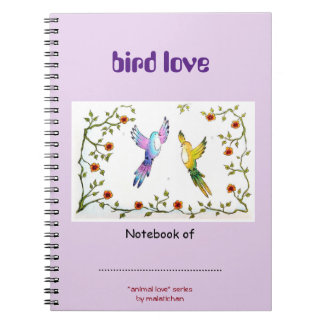 Bird Love Drawing Notebook in lilac