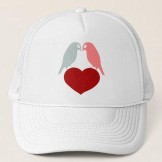 bird love hearts trucker hat