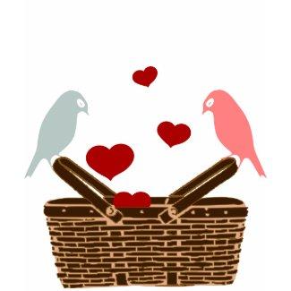 bird love hearts shirt