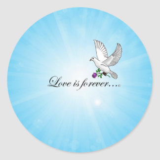"Bird ""LOVE is Forever"" Classic Round Sticker"