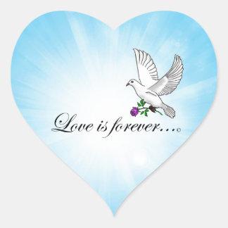 "Bird ""LOVE is Forever"" Heart Sticker"