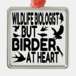 Bird Lover Wildlife Biologist Square Metal Christmas Ornament
