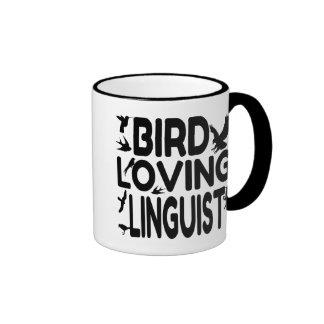 Bird Loving Linguist Ringer Coffee Mug