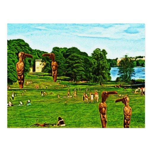 Bird Men in a Public Park Post Cards
