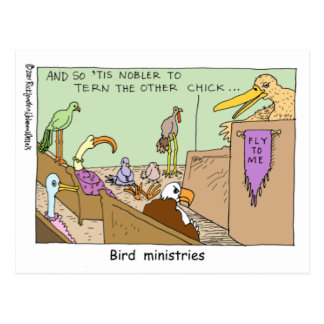 Bird Ministries Funny Religion Cartoon Gifts Tees Postcard