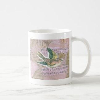 Bird Mixed Media Collage Coffee Mug