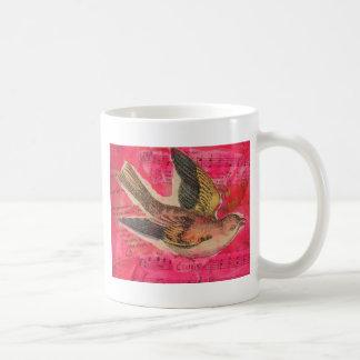 Bird Mixed Media  Hot Pink Background Coffee Mug