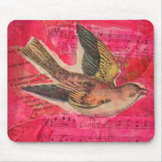 Bird Mixed Media  Hot Pink Background Mouse Pad