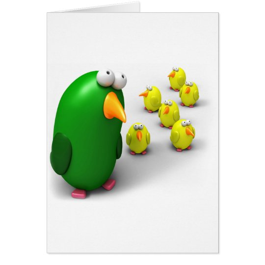 Bird mom and Chicks Card