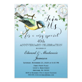 Bird Nature Anniversary Invitation Blue Floral