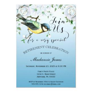 Bird Nature Retirement Invitation Blue Floral
