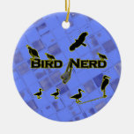 Bird Nerd Silhouette Double-Sided Ceramic Round Christmas Ornament