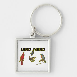 Bird Nerd Silver-Colored Square Keychain