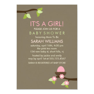 Bird Nest and Blossoms Girl Baby Shower 5x7 Paper Invitation Card