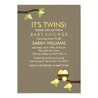 Bird Nest and Blossoms Twin Baby Shower 5x7 Paper Invitation Card